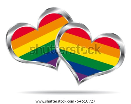 Two hearts with lgbt flag. Vector icon.