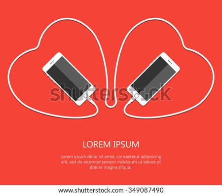 two hearts with phones  wire