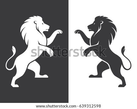 Two heraldic rampant lion silhouettes in black and white colors. Coat of arms. Heraldry logo design element. Stockfoto ©