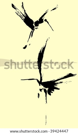 Two herons rendered in a simplistic brush style.