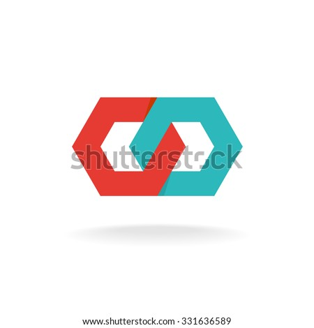 two hexagonal chain links logo
