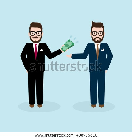 Two Hipster Businessman with Giving Money Concept