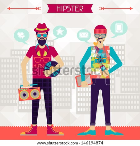 two hipsters on urban...