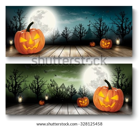 Two Holiday Halloween Banners with Pumpkins and Moon. Vector
