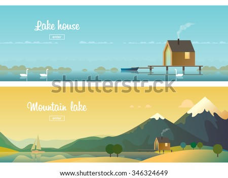 two horizontal banners a house