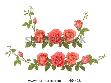 two horizontal borders of roses