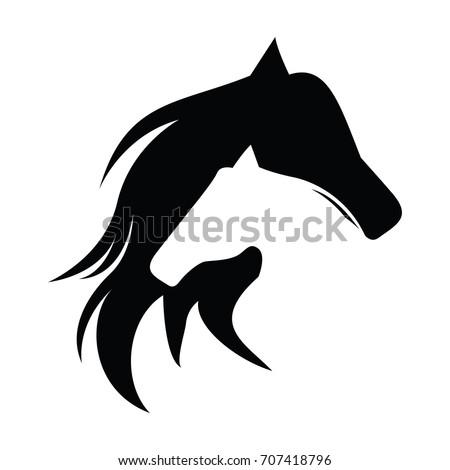 two horse logo vector