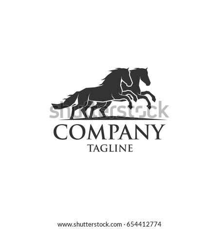 two horse running icon vector