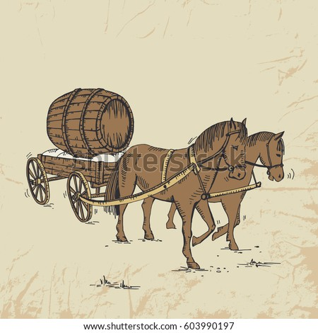 Two horses carry a wooden cart with a beer barrel. Holidays. Oktoberfest. Czech Beer Festival. Vintage postcard. Vector hand drawn illustration