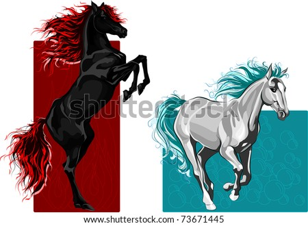 two horses  fire and water