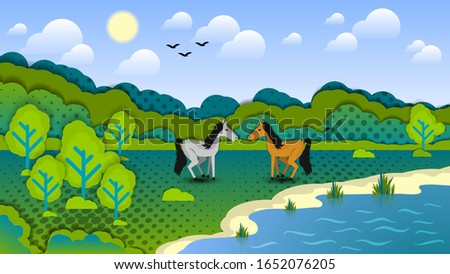 two horses in a clearing among