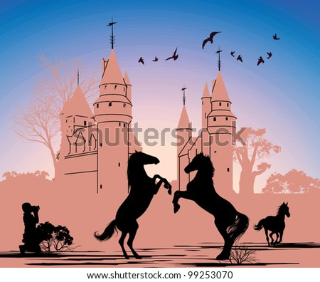 Two horses stand on their hind legs against the backdrop of an old castle - stock vector