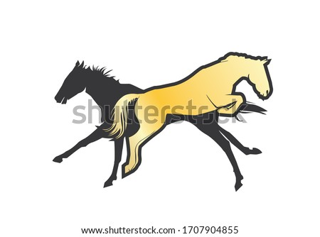 two horses vector illustration