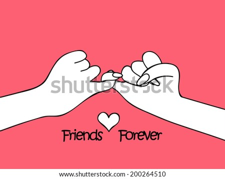 Two human hands together on pink background for Happy Friendship Day.