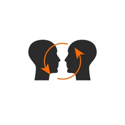 Two human profiles, symbol of communication, logo of psychologist. Vector illustration