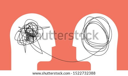 Two humans head silhouette psycho therapy concept. Therapist and patient. Vector illustration for psychologist blog or social media post.