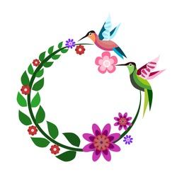 Two hummingbirds are flying over a branch bent in a circular shape. With flowers on the branches.llustration of stylized hummingbird drinking nectar from the flower.