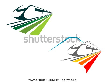 Two icons showing modern trains with receding perspective in green and orange, one with a mountain backdrop, suitable for use to depict, transport, travel or a vacation. Logo idea