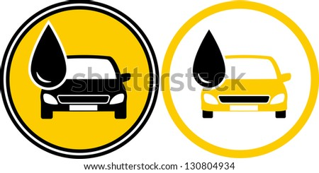 two icons with car silhouette and black fuel oil drop