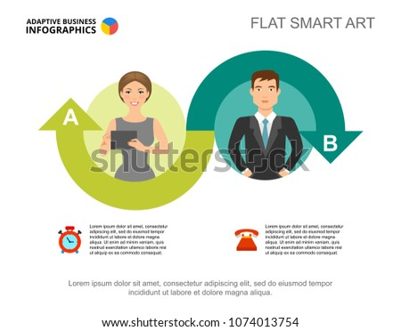 Two ideas process chart template for presentation. Vector illustration. Abstract elements of diagram, graph, infochart. Project, plan, business or training concept for infographic, report.