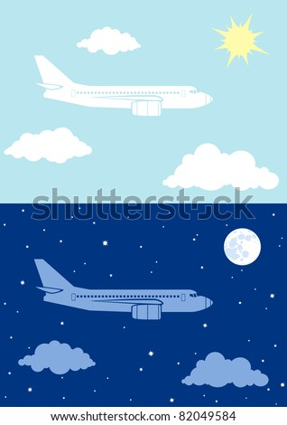 Two illustrations airplane flying in the sky