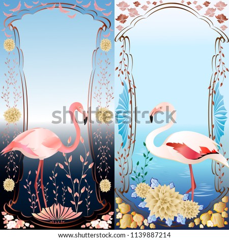 two illustrations of flamingo