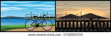 two image of a bike parked near