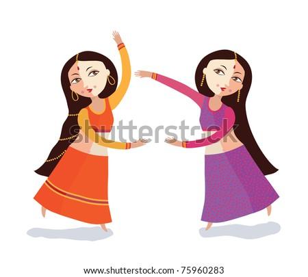 Two Indian women dance