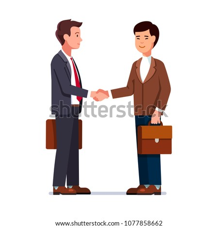Two international business man Caucasian and Chinese shaking hands. Businessmen first meeting greeting with firm handshake. Flat style character vector illustration isolated on white background