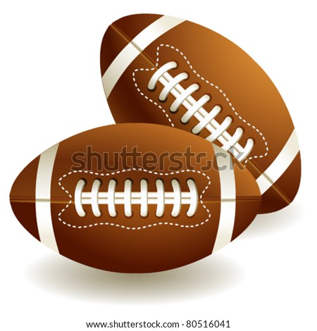 Two isolated american footballs on the white background