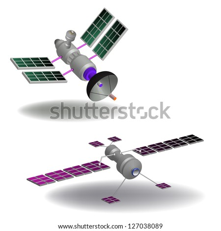 Two isolated communication satellites having various transponders, antennas, switching systems and solar cells
