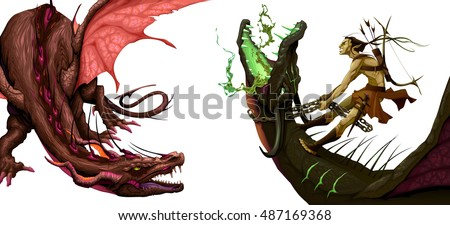 two isolated dragons vector
