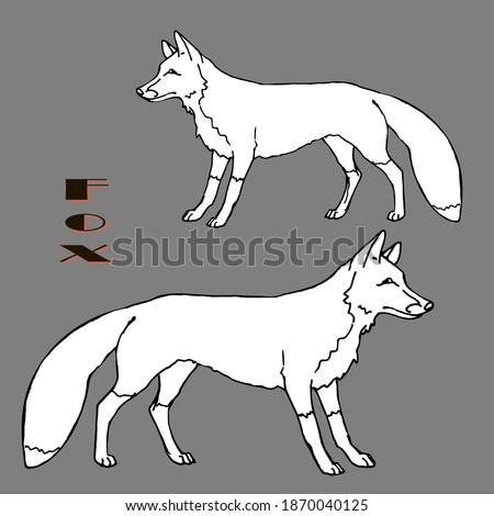 Two isolated linear fox images on a gray background for decoration and stickers.