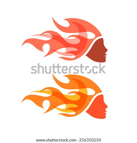 two isolated logotypes woman