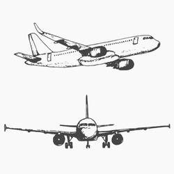Two isolated sketch images of plane. Hand drawn vector llustration