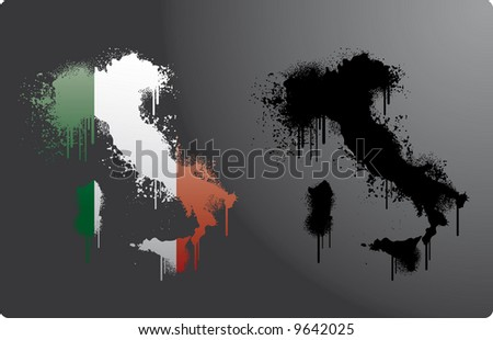 Two Italy maps within and without italian flag in splatter, grunge style.