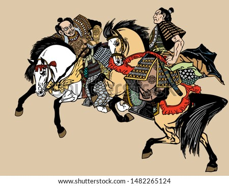 two Japanese Samurai horsemen sitting on horseback and wearing medieval leather armor. East Asia warriors riding pony horses in the gallop. Graphic style vector illustration