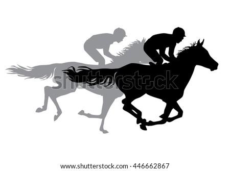 two jockeys riding on horseback