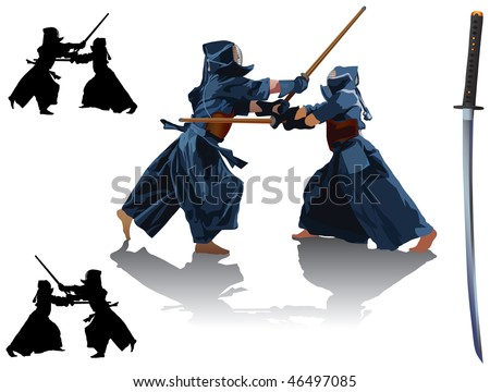 two kendo fighters in