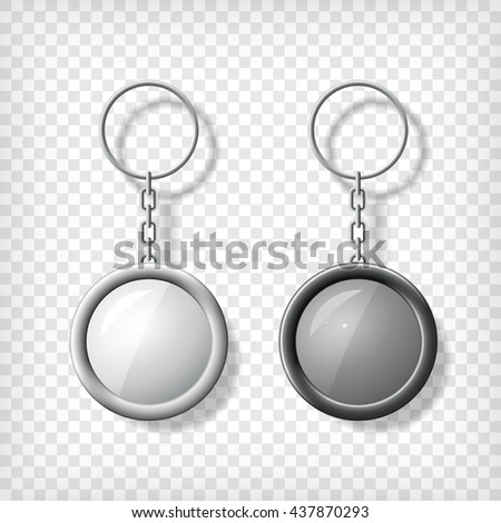 Two key chain pendants mockup. Transparent background. Black and white lighters. Blank template for corporate identity. Blank mock up with shadow. Vector illustration.