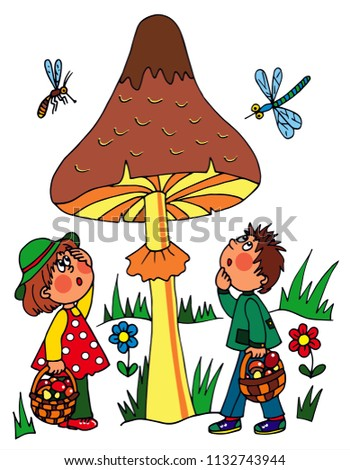 two kids and a big mushroom in