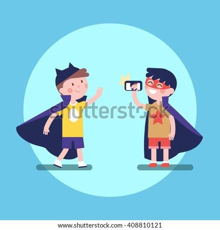 two kids boys friends taking