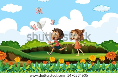 Two kids catching butterflies in the park illustration