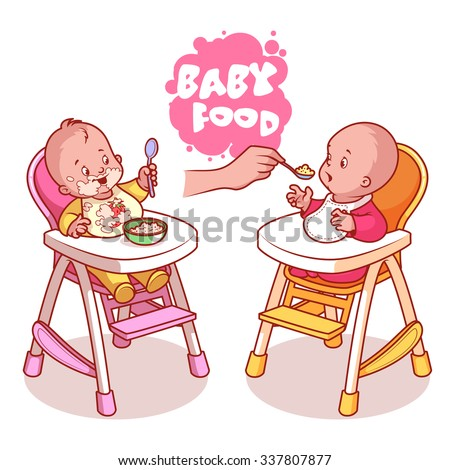 two kids in baby highchair with