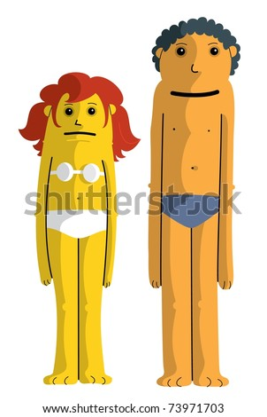 Two Kids in underwear standing: Boy and Girl