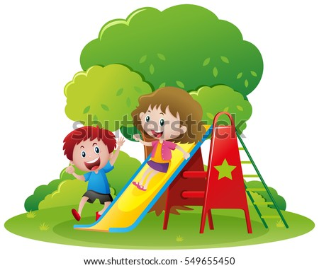 two kids playing slide in the