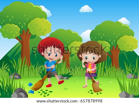 Two kids sweeping leaves in the park illustration
