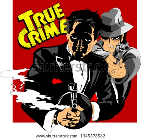 two killers armed with a gun and a pistol, vector and illustration
