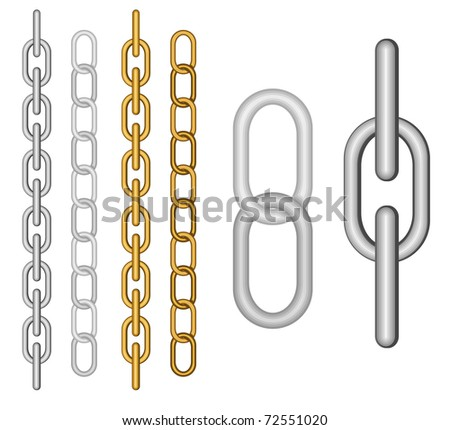 Two kind of different chain on the white