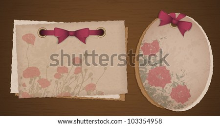 Two kind of old paper with ribbons and flowers, digital scrapbook